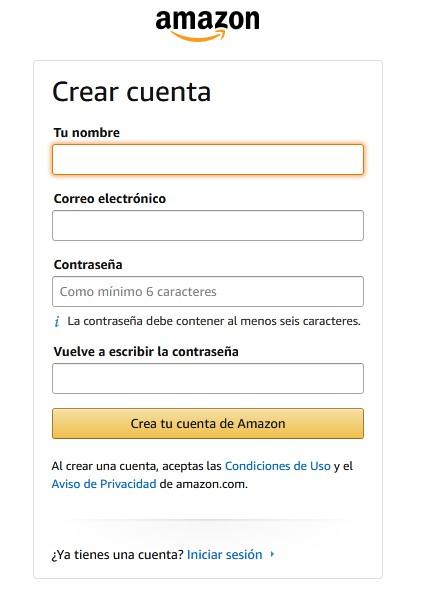 Crea tu cuenta de Amazon para comprar desde chile