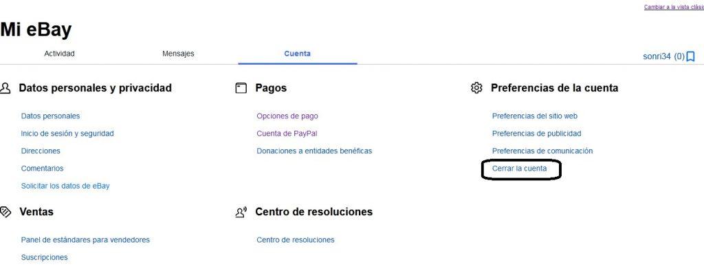 Cerrar la cuenta de ebay