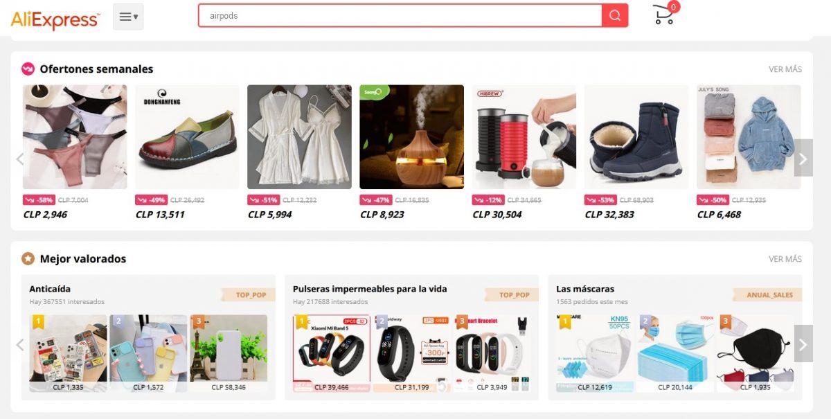 precios de los productos en pesos chilenos aliexpress