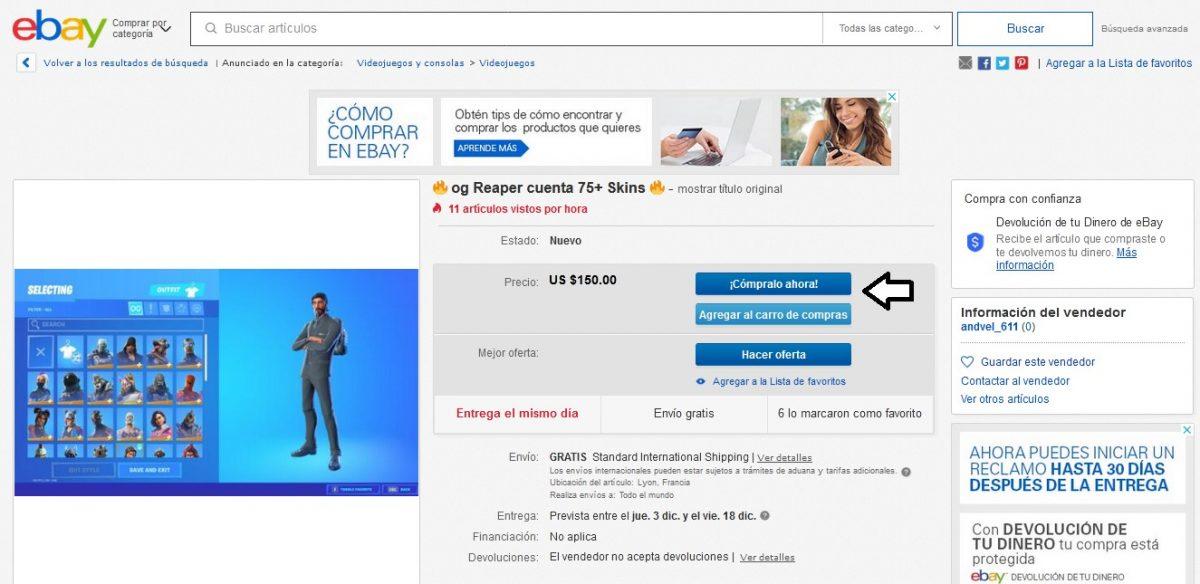 comprar cuentas de fortnite en ebay