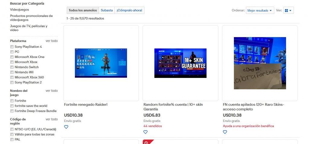 Cuenta Fortnite en eBay