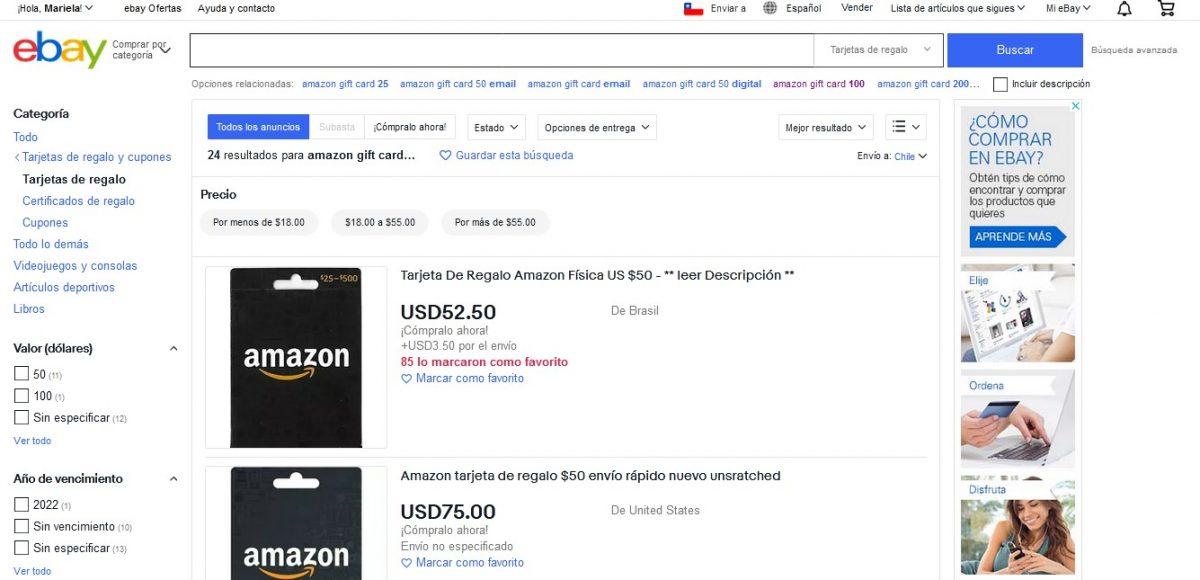 comprar en ebay Tarjeta de regalo de Amazon con paypal