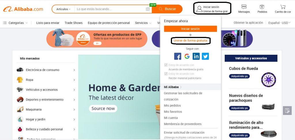 Unirse de forma gratuita a Alibaba Chile