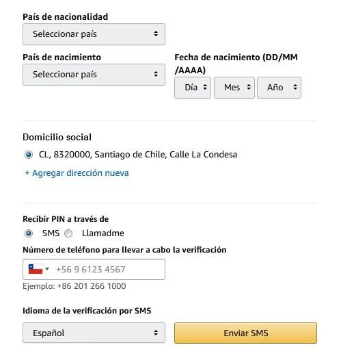 datos personales a completar para vender en amazon desde chile
