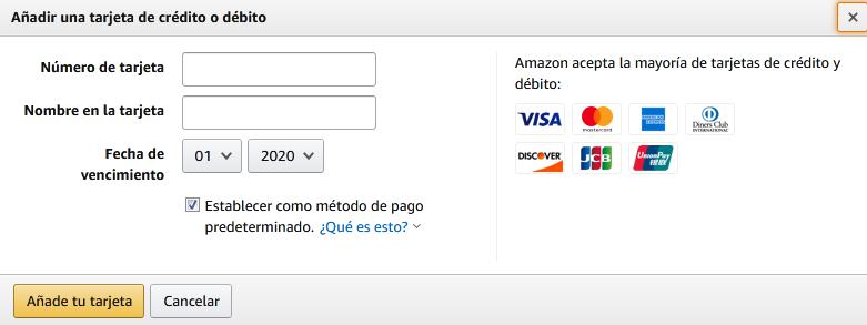 comprar en amazon con tarjeta de credito