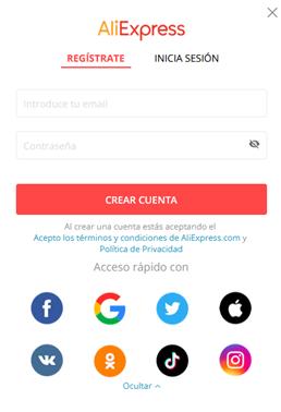 registrarse en aliexpress chile