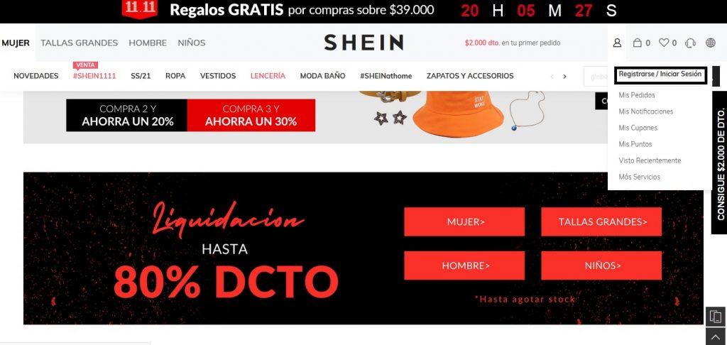web de Shein Chile